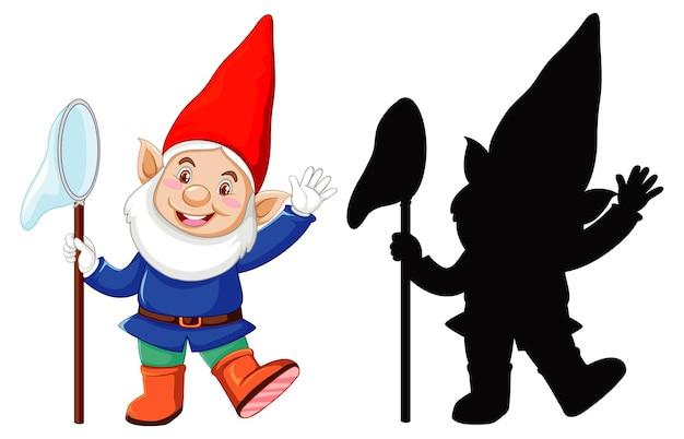 色とアウトラインのノームと白い背景の上の漫画のキャラクターのシルエット 無料ベクター