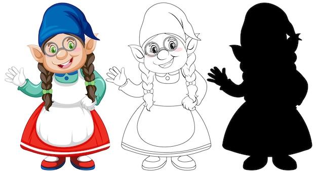 白の漫画のキャラクターの色とアウトラインとシルエットのノーム 無料ベクター