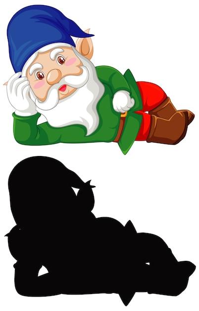 色のgnomeと白い背景の上の漫画のキャラクターのシルエット 無料ベクター