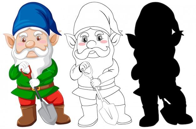 ガーデナー衣装の色と輪郭とシルエットの漫画のキャラクターのgnome 無料ベクター
