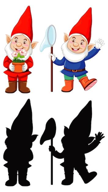 白い背景の上の漫画のキャラクターの色とアウトラインとシルエットのサンタ衣装のノーム 無料ベクター