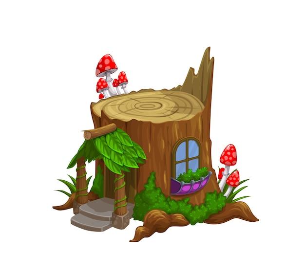 Гном или карликовый дом в старом мультфильме окурка. Premium векторы