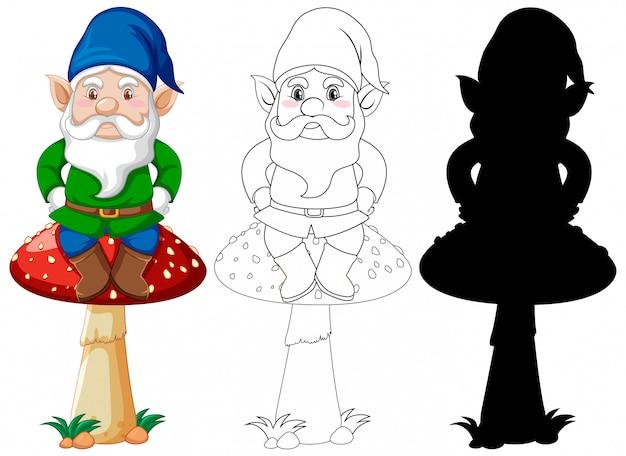 キノコの色と輪郭と白い背景の上の漫画のキャラクターのシルエットの上に座ってgnome 無料ベクター