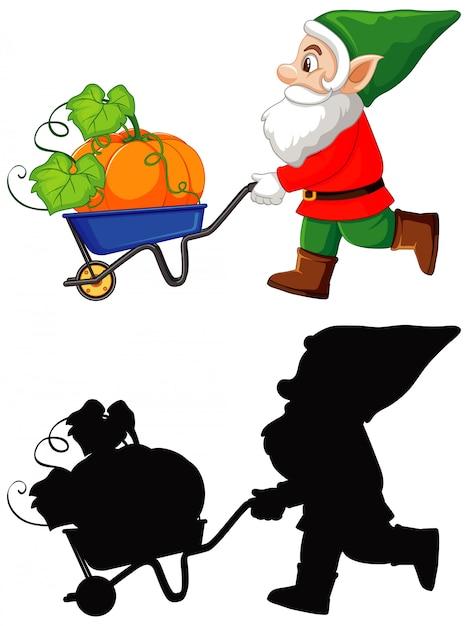 色でカートにカボチャと白い背景の上の漫画のキャラクターのシルエットとgnome 無料ベクター