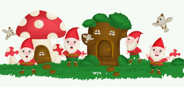 木の家とキノコの家の庭の水カラースタイルのgnome。 Premiumベクター