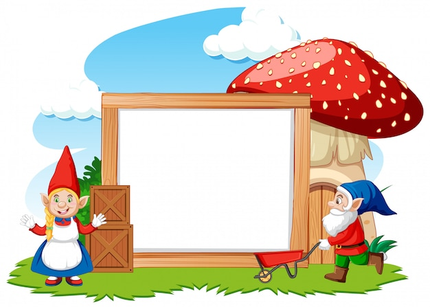 白い背景の空白のバナー漫画のスタイルでノームとキノコの家 無料ベクター