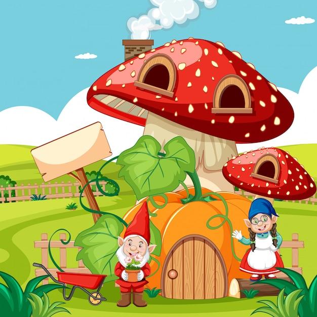 ノームとカボチャのキノコの家と庭の背景に庭の漫画のスタイル 無料ベクター