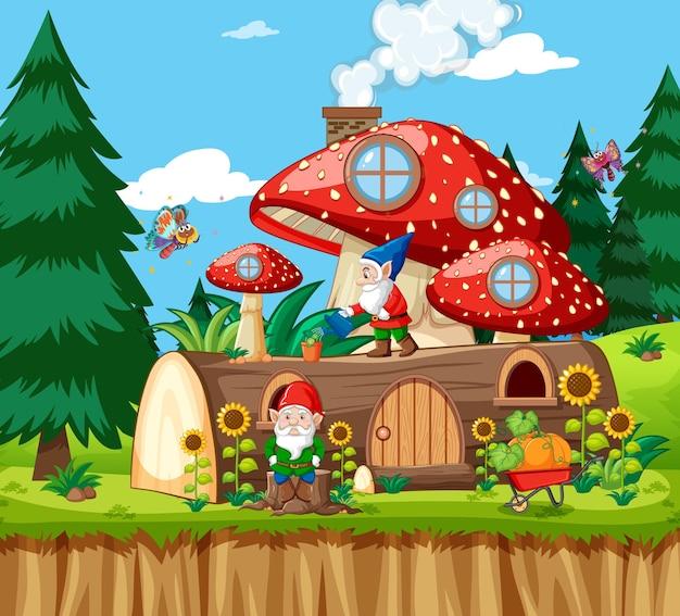 ノームと木キノコの家と庭の漫画スタイルの庭 無料ベクター