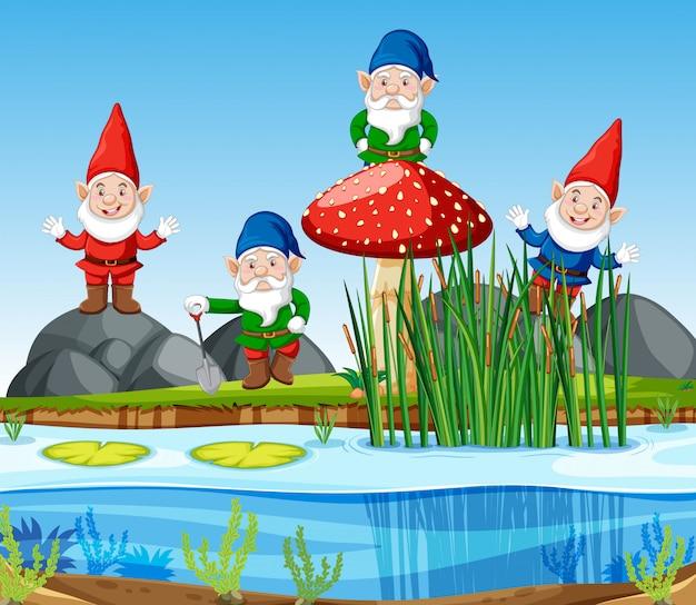 漫画のスタイルで沼の横に立っているノームグループ 無料ベクター