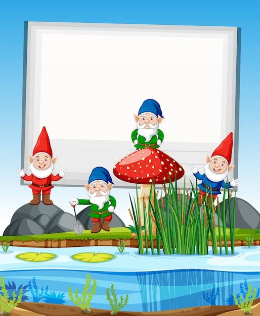 漫画のスタイルで白紙の横断幕と沼の横に立っているノームグループ 無料ベクター