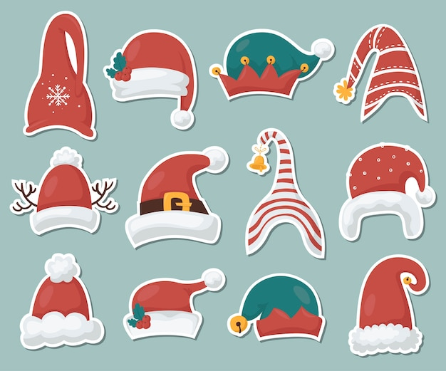 Gnomes hats stickers collection.  illustration for greeting cards, christmas invitations and scrapbooking Premium Vector