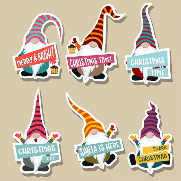 Gnomesのクリスマスステッカーコレクション Premiumベクター
