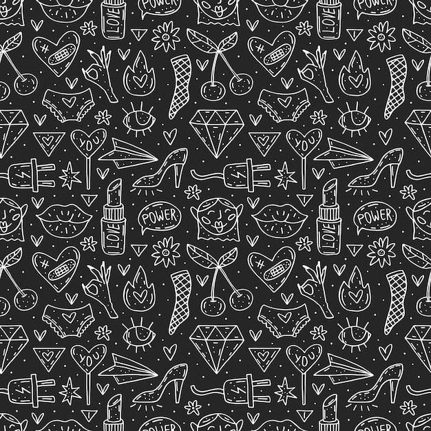 Go girl cute cartoon hand drawn doodle  seamless pattern. funny chalkboard design. isolated on dark background. feminist symbols. women's day. women`s rights. Premium Vector
