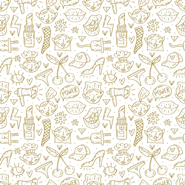 Go girl cute cartoon hand drawn doodle  seamless pattern. funny monochrome design. isolated on white background. feminist symbols. women's day. women`s rights. Premium Vector