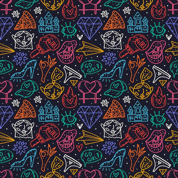 Go girl cute cartoon hand drawn doodle  seamless pattern. funny neon design. isolated on dark background. feminist symbols. women's day. women`s rights. Premium Vector