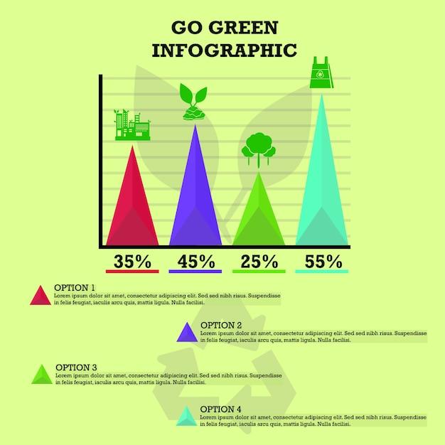 Go green infographic Premium векторы