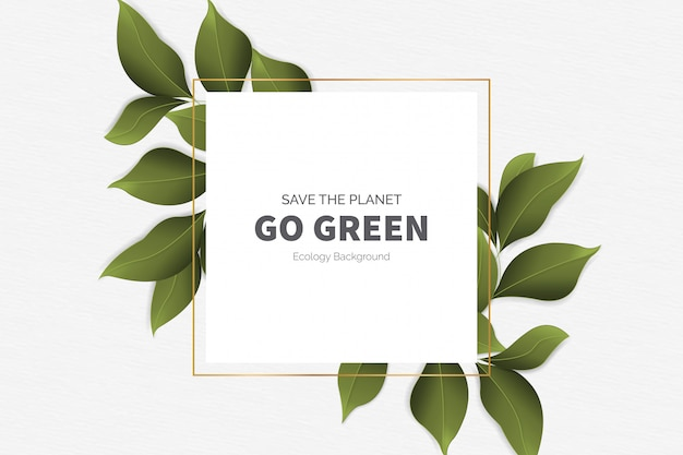 Go green modern background with leaves Free Vector