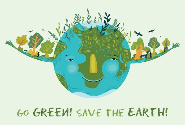 Go green, save the earth. vector cute ecological illustration. Premium Vector
