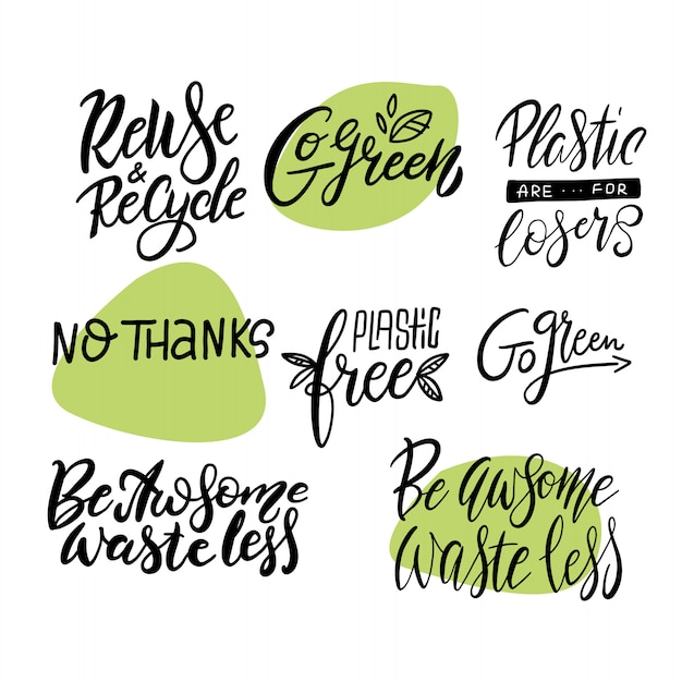 Go green, waste less big lettering set. modern calligraphy quotes and phrases with green leaves. Premium Vector