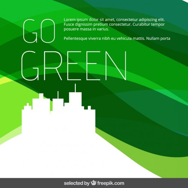 Go Green Wavy Background Free Vector