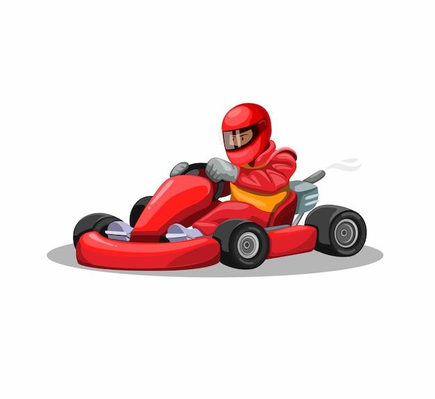 Идите картинг гонщик персонаж в красной форме. профессиональное вождение гонки спортивные соревнования в мультяшный иллюстрации на белом фоне Premium векторы