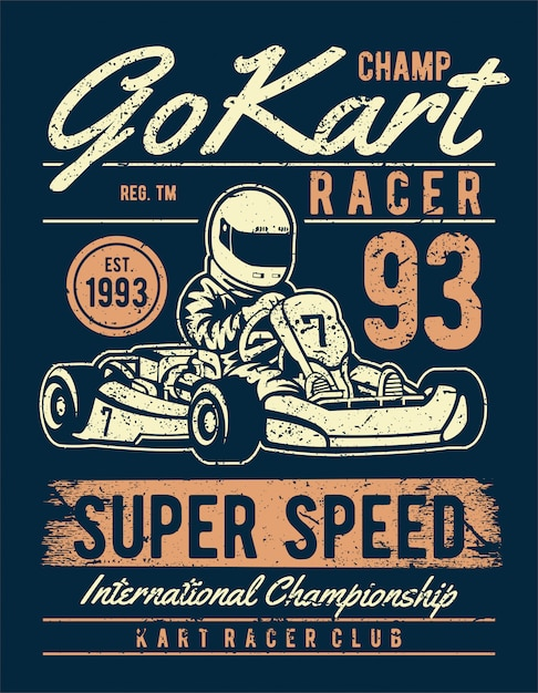 Go kart racer poster in vintage style Premium Vector