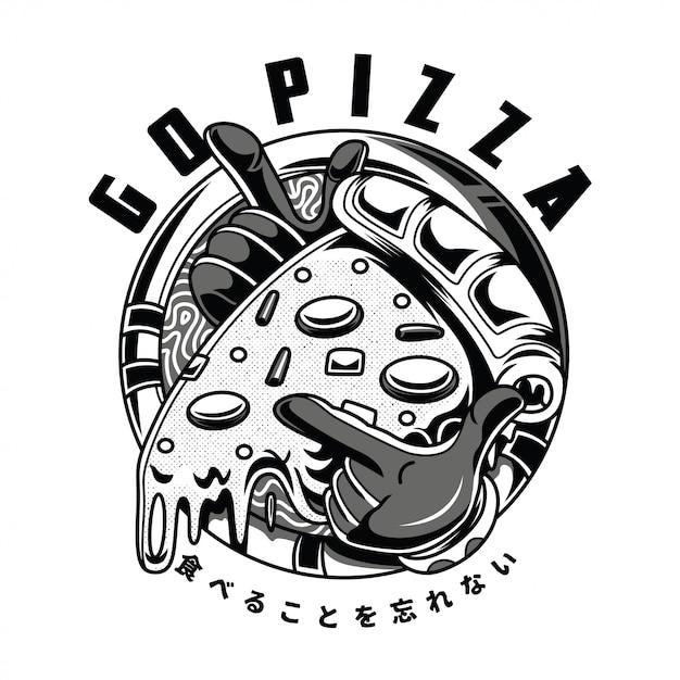 Go pizza black and white illustration Premium Vector