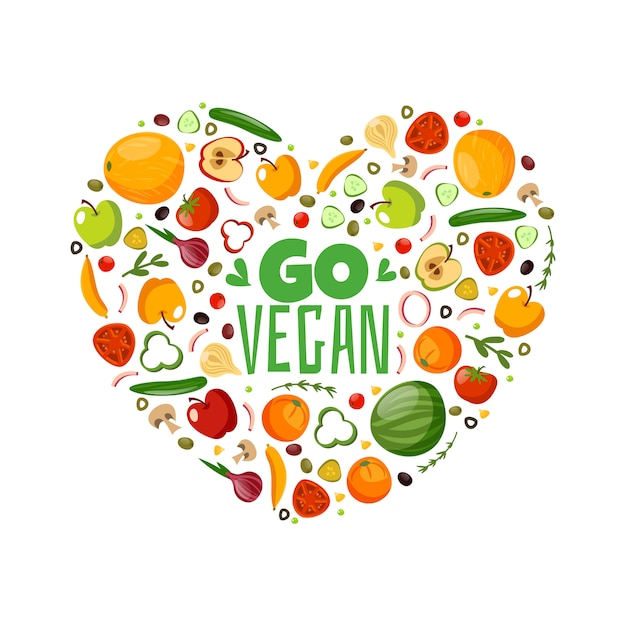 Go vegan. great vegetarian composition Premium Vector