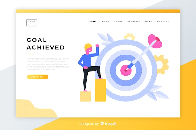 Goal achieved colorful landing page Free Vector