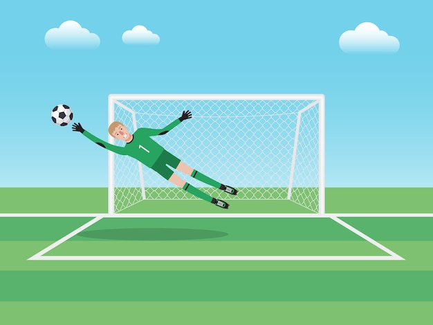 Goalkeeper in the area playing Premium Vector