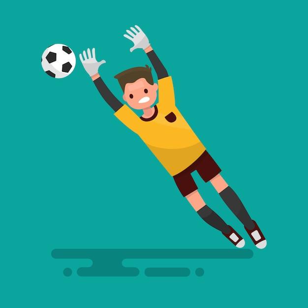 Goalkeeper catches the ball. football illustration Premium Vector