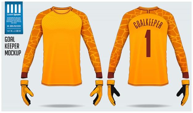 Goalkeeper jersey or soccer kit mockup template design. Premium Vector