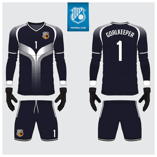 Goalkeeper jersey or soccer kit template Premium Vector