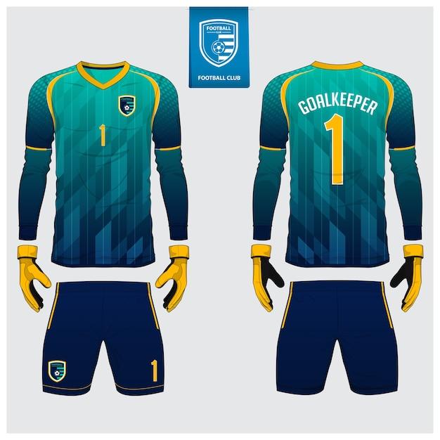 Goalkeeper jersey template design. Premium Vector