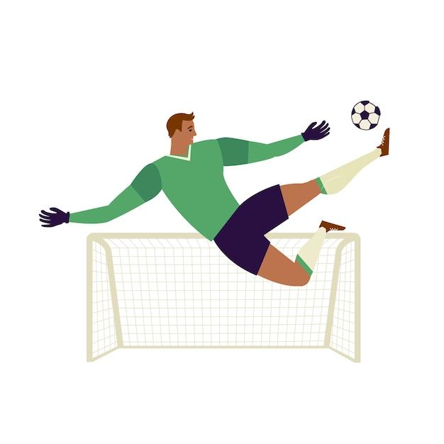 Goalkeeper jumping to catch ball illustration. Premium Vector