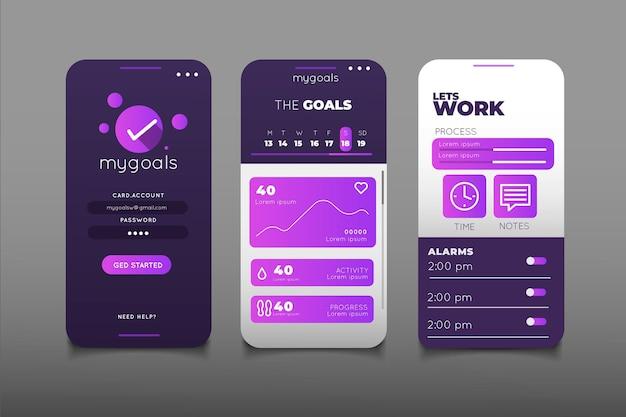目標と習慣の追跡アプリコレクション 無料ベクター