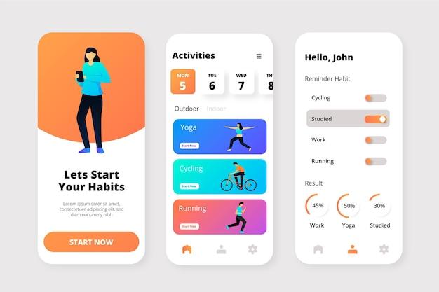 目標と習慣の追跡アプリ 無料ベクター