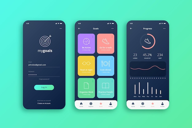 Goals and habits tracking app Free Vector