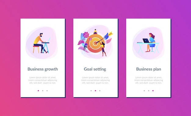 Goals and objectives app interface template Premium Vector