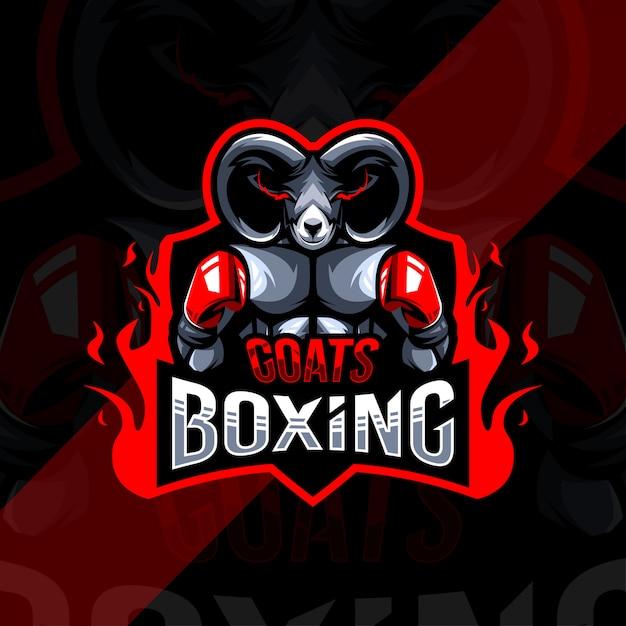 Коза бокс талисман логотип киберспорт дизайн шаблона Premium векторы