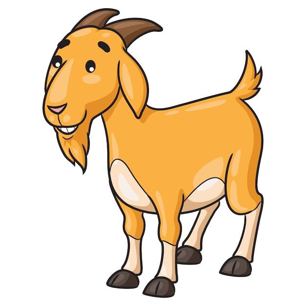 Коза мультфильм улыбается Premium векторы