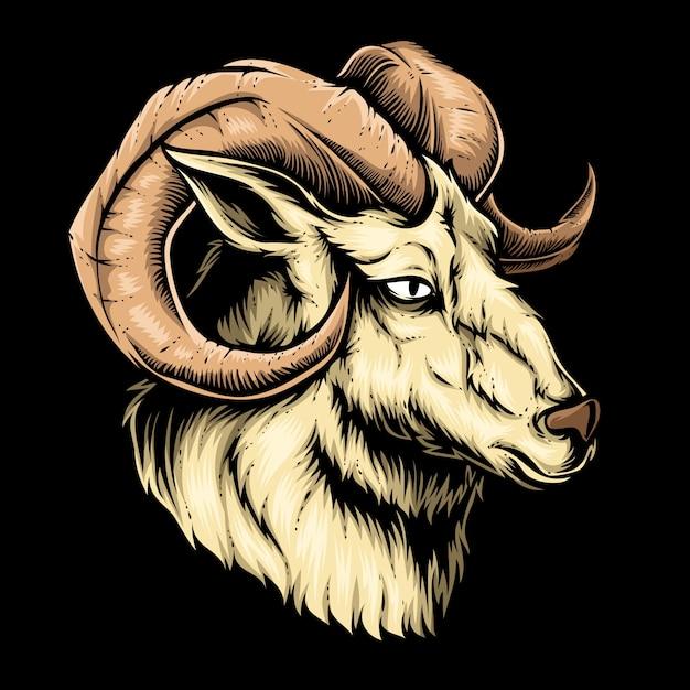 Goat head vector Premium Vector
