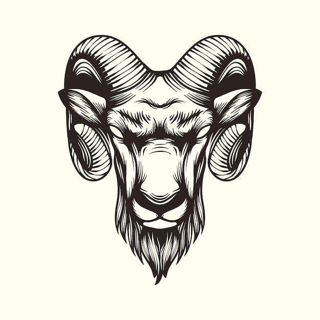 Goat illustration logo Premium Vector