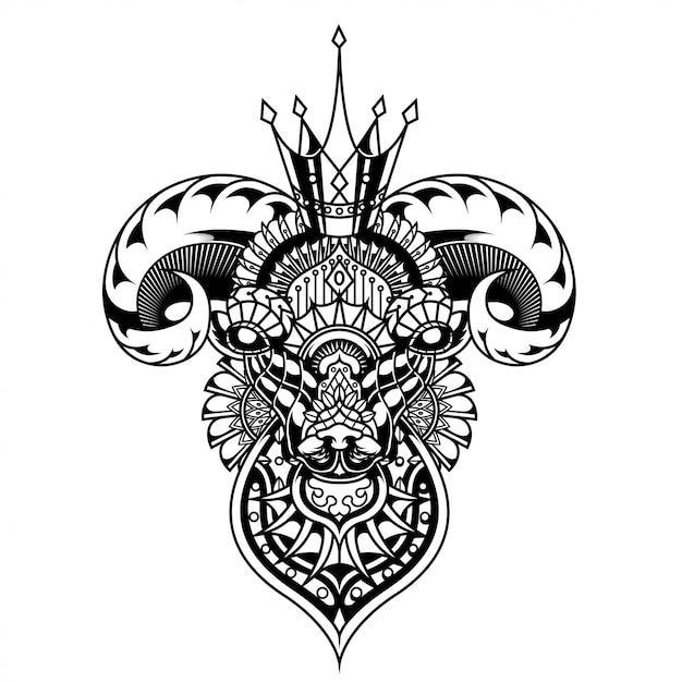Goat illustration, mandala zentangle and tshirt design Premium Vector