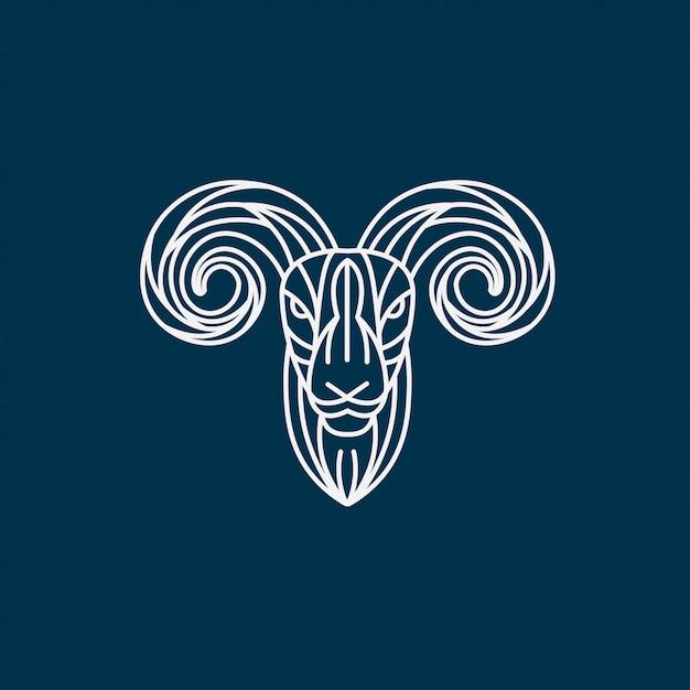 Goat lineart illustration, lamb head logo Premium Vector