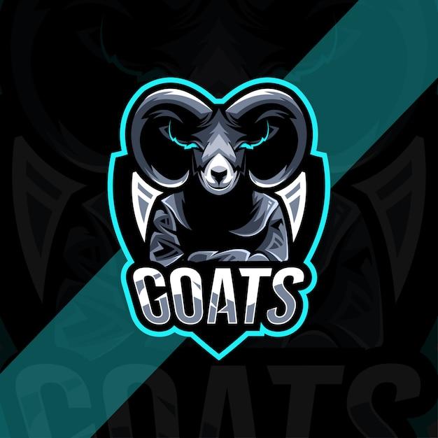 Шаблон логотипа талисмана козы Premium векторы