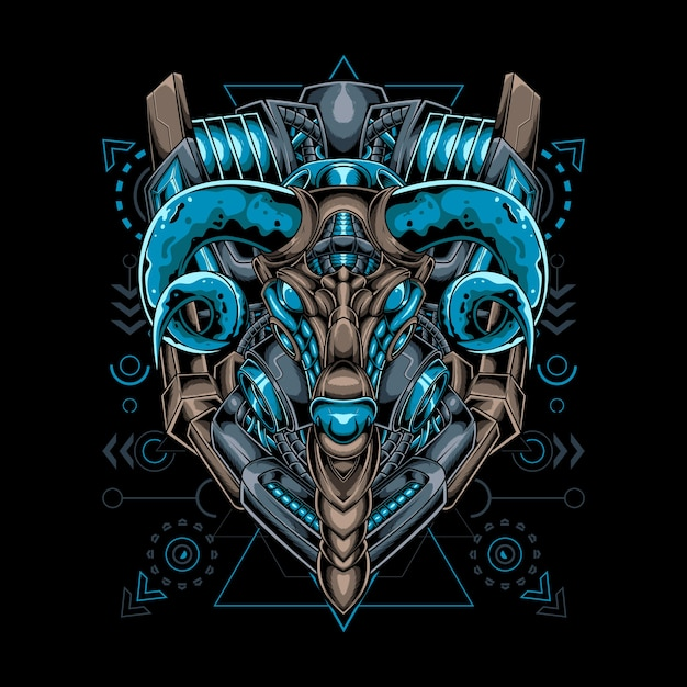 Goat mecha robotic style with sacred geometry Premium Vector