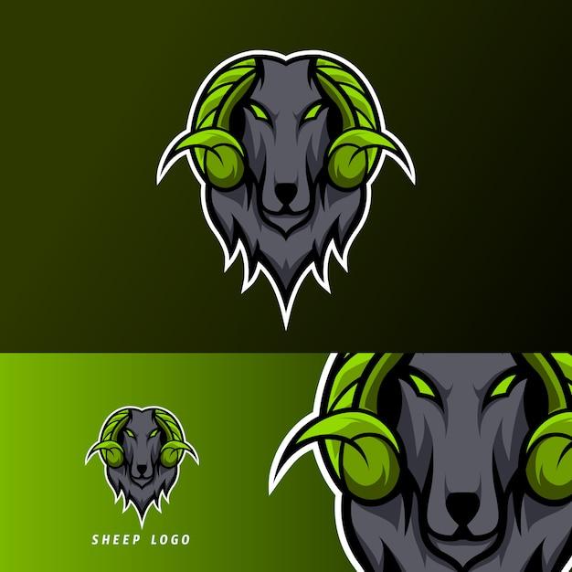 Goat sheeep mascot sport esport logo template black fur green horn Premium Vector