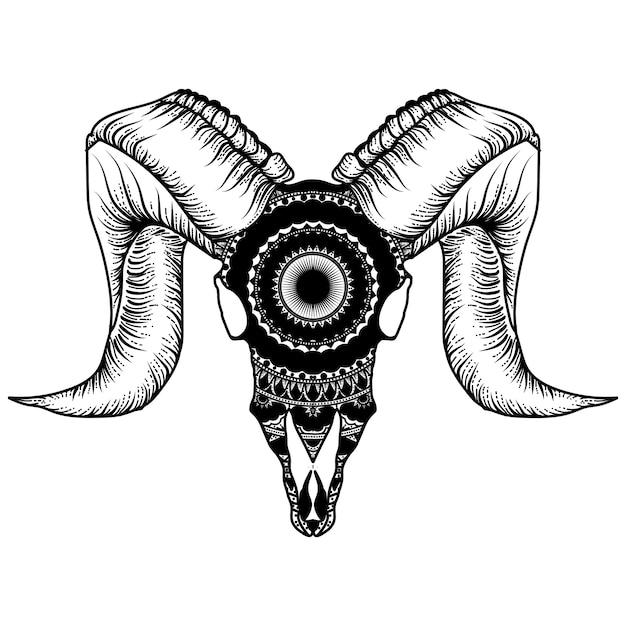 マンダラとヤギの頭蓋骨 Premiumベクター