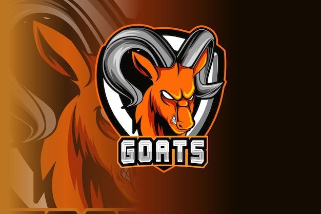 スポーツのヤギのマスコットと暗い背景に分離されたeスポーツのロゴ Premiumベクター